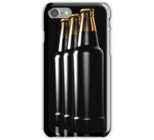 Close up bottles of beer on a black background. 3d illustration. iPhone Case/Skin