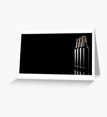 Close up bottles of beer on a black background. 3d illustration. Greeting Card