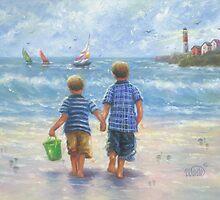 TWO LITTLE BEACH BOYS WALKING by VickieWade