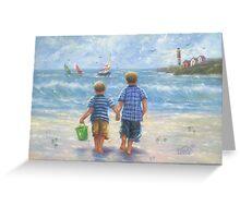 TWO LITTLE BEACH BOYS WALKING Greeting Card
