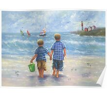 TWO LITTLE BEACH BOYS WALKING Poster