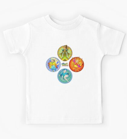 The Four Elements - Earth, Air, Fire & Water Kids Tee