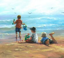 THREE LITTLE BEACH BOYS I by VickieWade