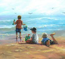 THREE LITTLE BEACH BOYS I by VickieWade