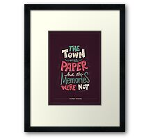 Paper Towns: Town and Memories Framed Print