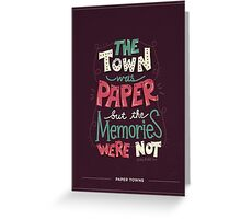 Paper Towns: Town and Memories Greeting Card