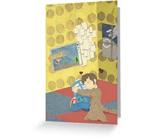 The Doctor Hugging a Tardis in color Greeting Card