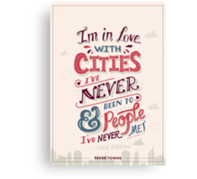 Paper Towns: Cities and People Canvas Print