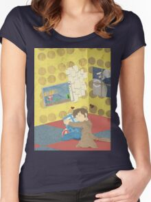 The Doctor Hugging a Tardis in color Women's Fitted Scoop T-Shirt