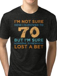 70th Birthday Survival Tri-blend T-Shirt