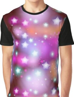 Neon Stars on Purple Graphic T-Shirt