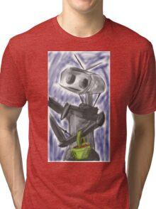 Robot Picking Pretty Shiny Organic Orbs Tri-blend T-Shirt