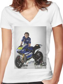 valentino rossi motogp Women's Fitted V-Neck T-Shirt