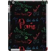 Colored word about Paris pattern on black iPad Case/Skin
