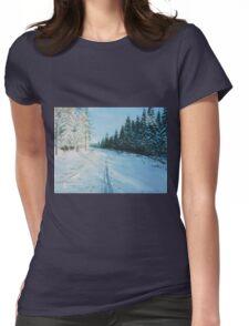 Ski Tracks Womens Fitted T-Shirt