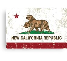 New California Republic Flag Distressed Canvas Print