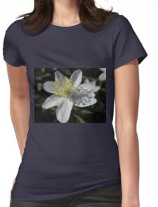 Single White Wood Anemone Womens Fitted T-Shirt