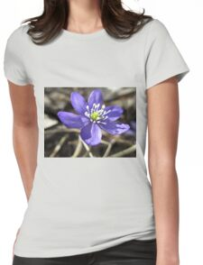 Single Blue Wood Anemone Womens Fitted T-Shirt