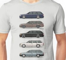 Stack of Mercedes W124 S124 E-Class Wagons Unisex T-Shirt