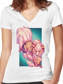 Arcanine and Growlithe- Pokemon Women's Fitted V-Neck T-Shirt