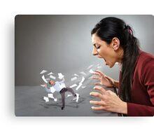 Furious businesswoman shouting at a subordinate Canvas Print