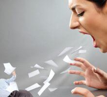 Furious businesswoman shouting at a subordinate Sticker