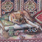 Ginger cat playing Solitaire by AlessandraArt