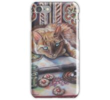 Ginger cat playing Solitaire iPhone Case/Skin