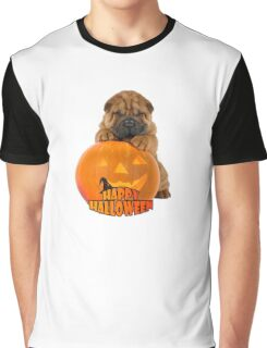 Happy Halloween with Shar Pei Chinese Dog Graphic T-Shirt
