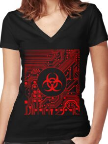 Red Biohazard (Cybergoth) Women's Fitted V-Neck T-Shirt