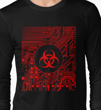 Red Biohazard (Cybergoth) Long Sleeve T-Shirt