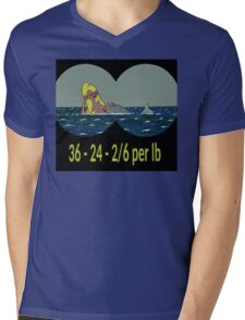 Joe & Petunia Mermaid - Vital Statistics joke Mens V-Neck T-Shirt