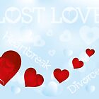 Heartbreak illustration on blue background, lost love by schtroumpf2510
