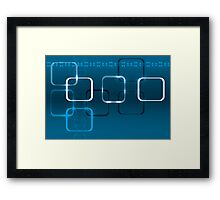 Abstract technical background with DNA and lights Framed Print