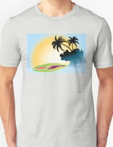 Ocean Wave , surf board and Palm Trees under the sun Unisex T-Shirt