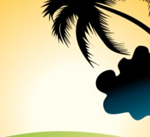 Ocean Wave , surf board and Palm Trees under the sun Sticker