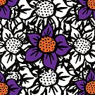 Scratched Flower -  Mixed Coloured Pattern by Courtney Taylor