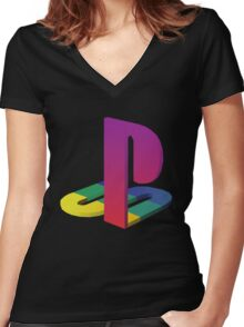 PlayStation Aesthetic Logo Women's Fitted V-Neck T-Shirt