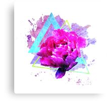 Trendy flower art  with lovely peony and triangles. Canvas Print