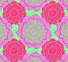 Mint, Magenta & Radiant Orchid Mandala Pattern by Perrin Le Feuvre