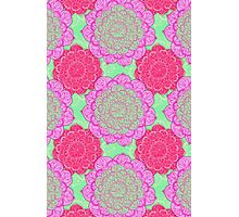 Mint, Magenta & Radiant Orchid Mandala Pattern Photographic Print