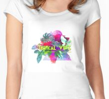 Tropical vibes  slogan.  Modern and stylish typographic design  Women's Fitted Scoop T-Shirt