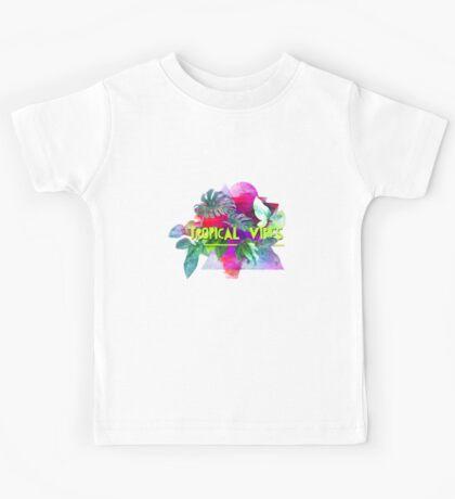 Tropical vibes  slogan.  Modern and stylish typographic design  Kids Tee