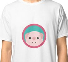 Cute pink pig with purple circle Classic T-Shirt