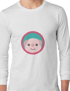Cute pink pig with purple circle Long Sleeve T-Shirt