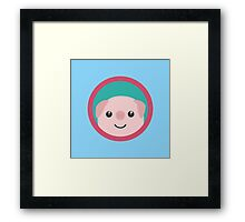 Cute pink pig with purple circle Framed Print
