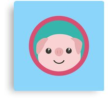 Cute pink pig with purple circle Canvas Print