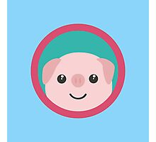 Cute pink pig with purple circle Photographic Print