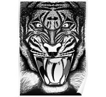 Raging Tiger - Black & White Edition (Comic Book Style) Poster