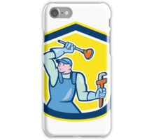 Plumber Wielding Plunger Wrench Shield Cartoon iPhone Case/Skin